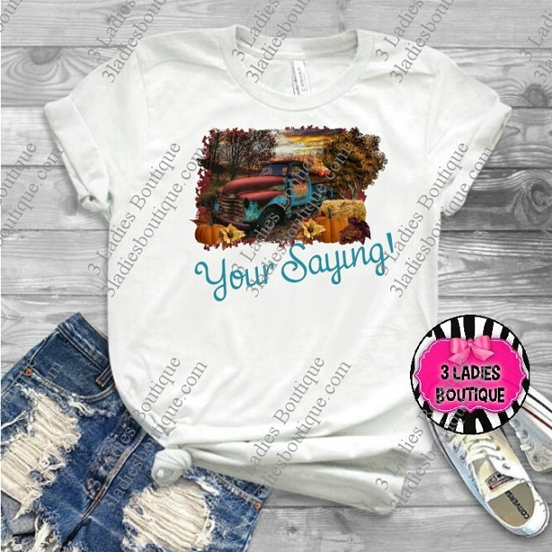 Fall Retro Truck in Teals - Your Custom Saying