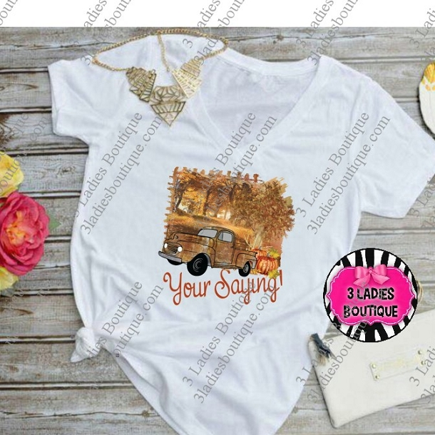 Fall Retro Truck in Gold - Your Custom Saying